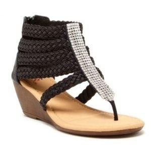 Braided Bedazzle Wedge Sandal